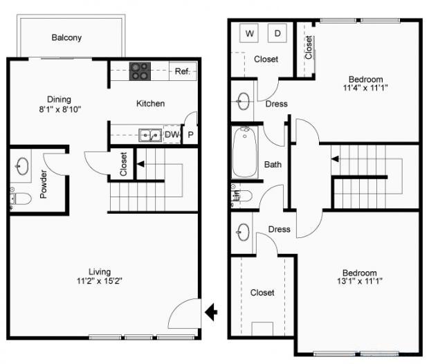 1,040 sq. ft. B-3T floor plan