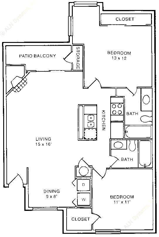 976 sq. ft. B2 floor plan