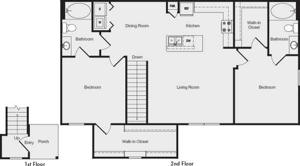 1,233 sq. ft. B4 floor plan