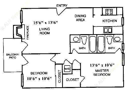 773 sq. ft. B-2 floor plan