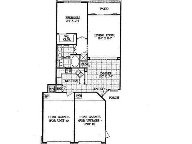 886 sq. ft. A1 floor plan