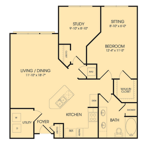 982 sq. ft. A4 floor plan