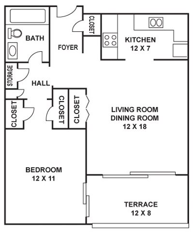 741 sq. ft. Commerce floor plan