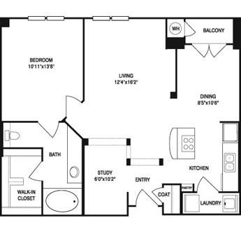 850 sq. ft. to 873 sq. ft. floor plan