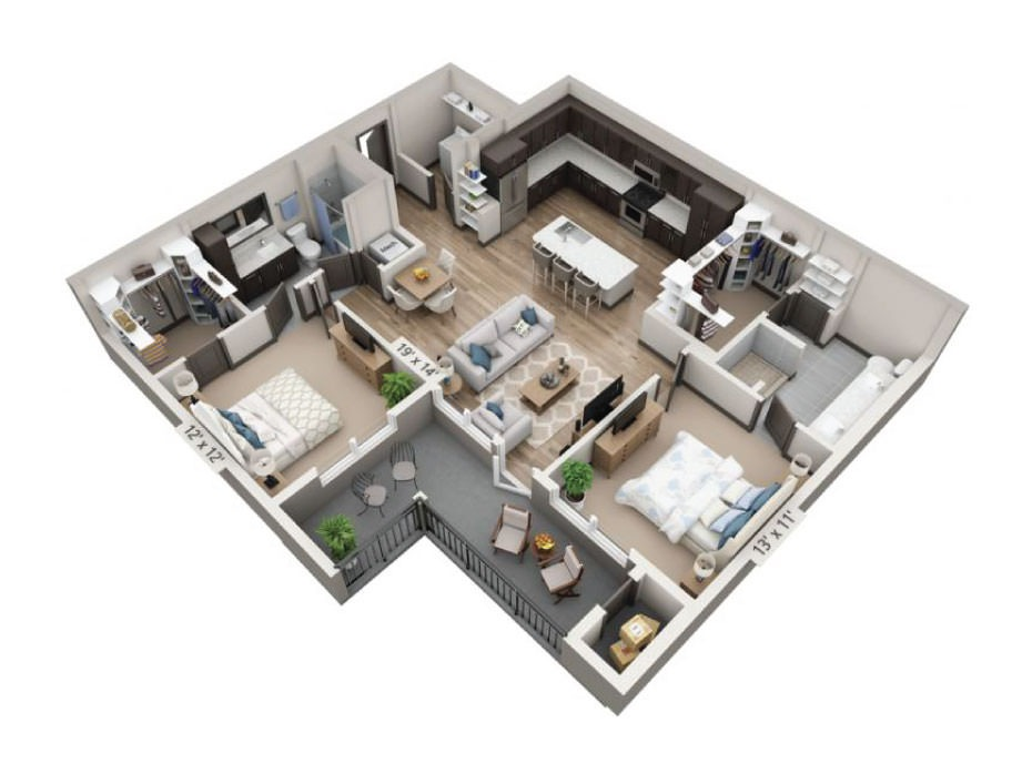 1,225 sq. ft. Canyon floor plan