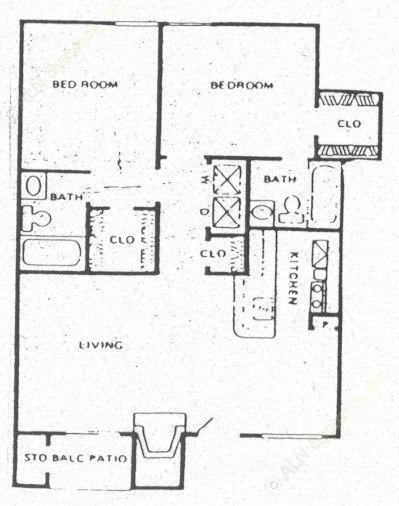 820 sq. ft. B2 floor plan