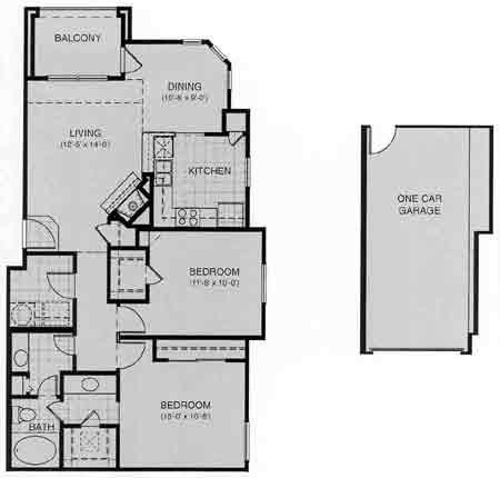 1,010 sq. ft. Zurich floor plan