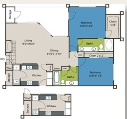1,166 sq. ft. B3 floor plan