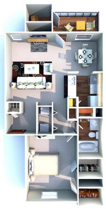 750 sq. ft. C floor plan