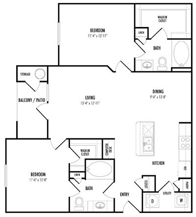 1,094 sq. ft. C1 floor plan
