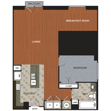925 sq. ft. C6 floor plan
