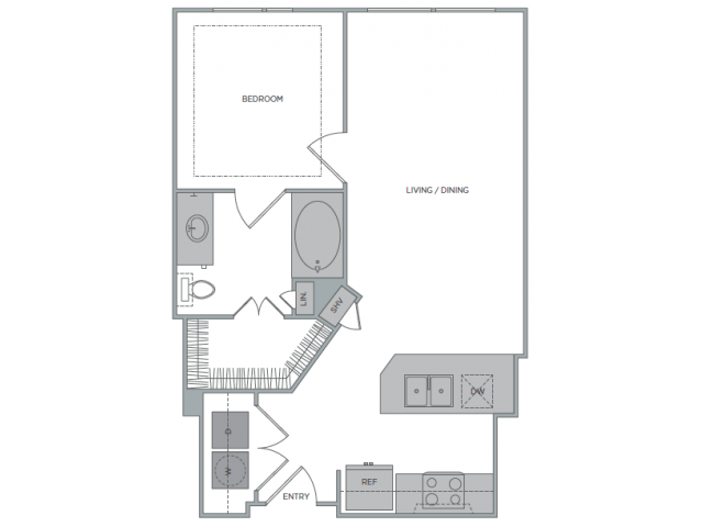615 sq. ft. 1D floor plan