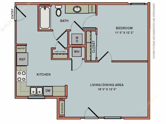 703 sq. ft. EA1.1 floor plan