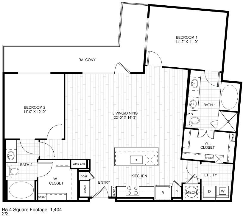 1,404 sq. ft. B5.4 floor plan