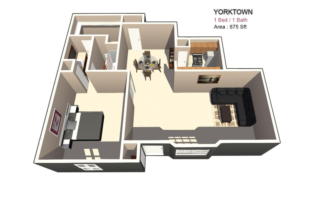 980 sq. ft. 2X2 floor plan