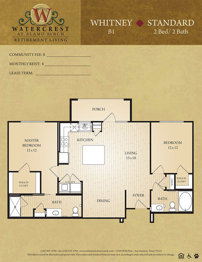 1,180 sq. ft. Whitney floor plan