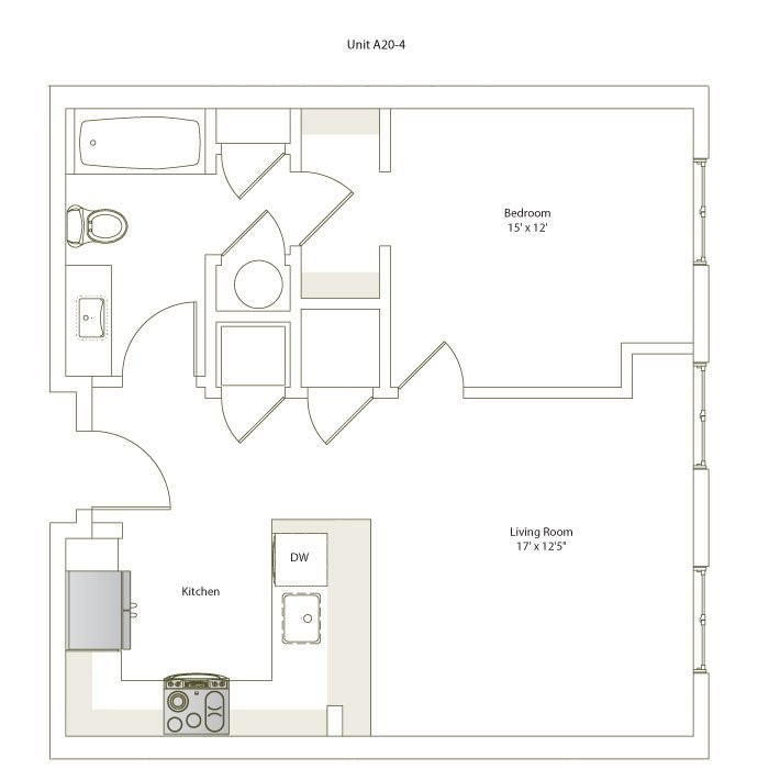 659 sq. ft. A20-4 floor plan