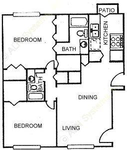 1,212 sq. ft. C1 floor plan