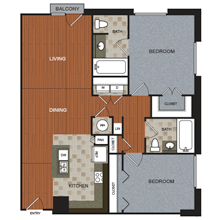 1,162 sq. ft. B7-PH floor plan