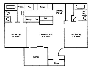 929 sq. ft. B3 floor plan