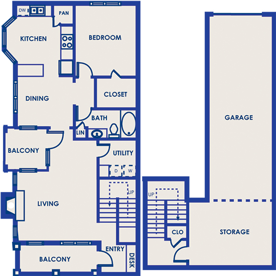 970 sq. ft. 11C floor plan
