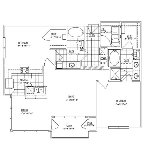 1,166 sq. ft. B2D floor plan