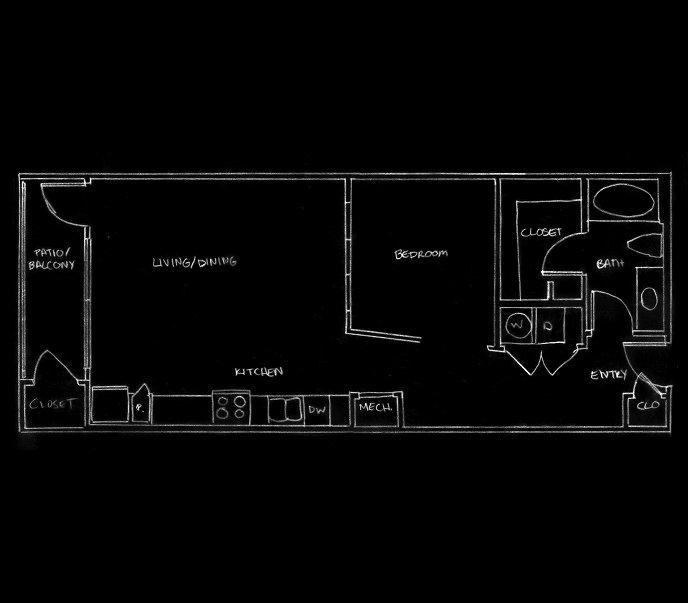 729 sq. ft. L1 floor plan