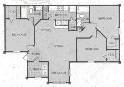 1,075 sq. ft. 60% floor plan