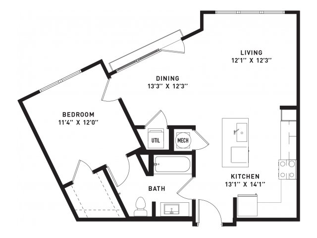 761 sq. ft. A10 floor plan