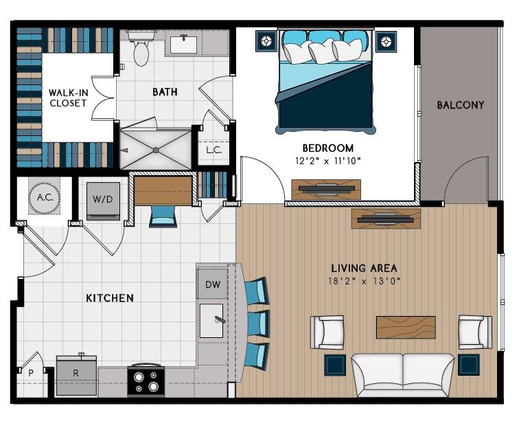 799 sq. ft. 1B floor plan