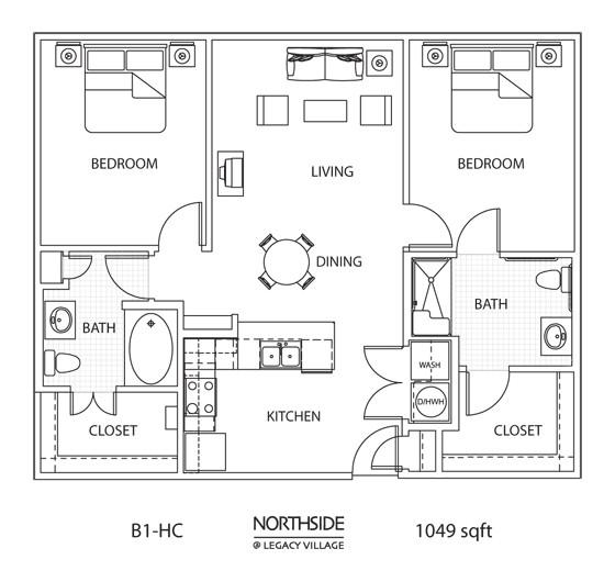 1,049 sq. ft. to 1,121 sq. ft. B1-HC floor plan