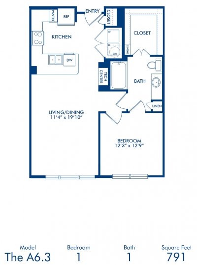791 sq. ft. A6.3 floor plan