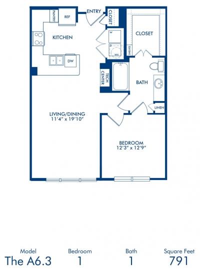791 sq. ft. A6.3 floor plan