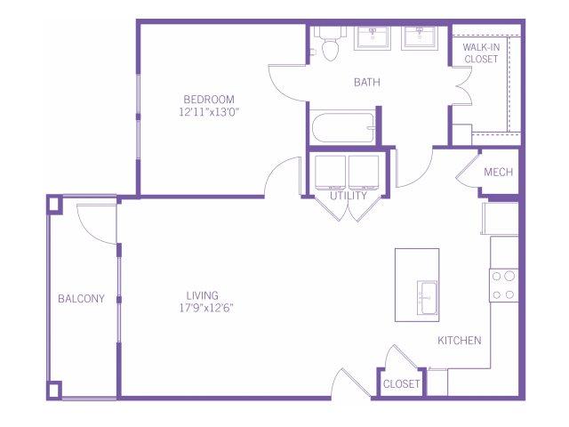 880 sq. ft. A5A floor plan