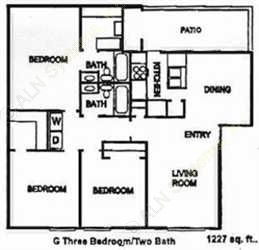 1,227 sq. ft. C floor plan