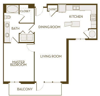 937 sq. ft. A1G floor plan