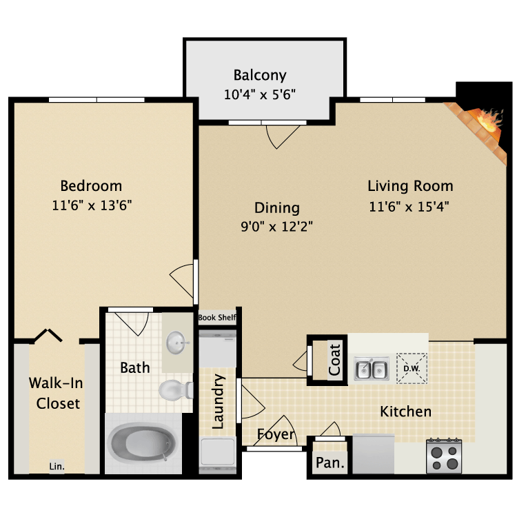 800 sq. ft. II A2 floor plan