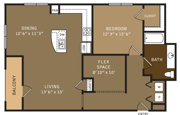 1,065 sq. ft. 15 (I) floor plan