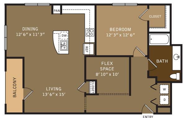 1,065 sq. ft. 15 (I) floor plan