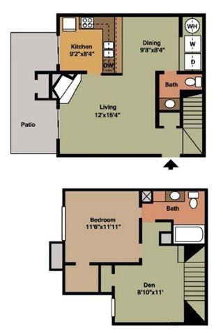 962 sq. ft. A1 floor plan