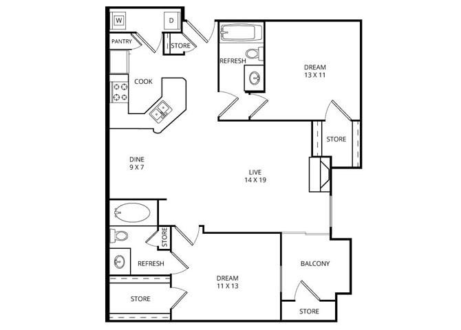 1,061 sq. ft. Sand Dollar floor plan