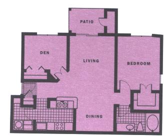 870 sq. ft. A5 floor plan