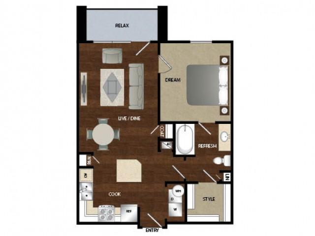732 sq. ft. A1 floor plan