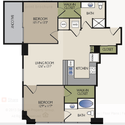 1,029 sq. ft. A2 floor plan
