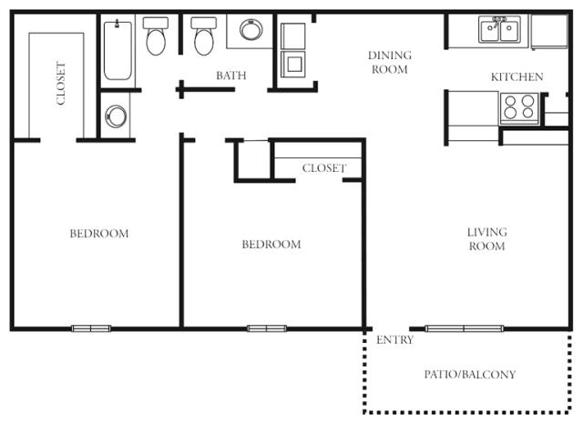 920 sq. ft. to 942 sq. ft. F floor plan
