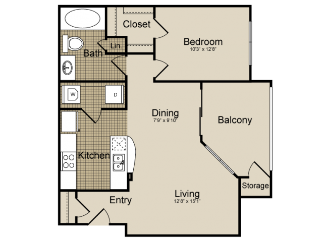 736 sq. ft. Carina   (A3) floor plan
