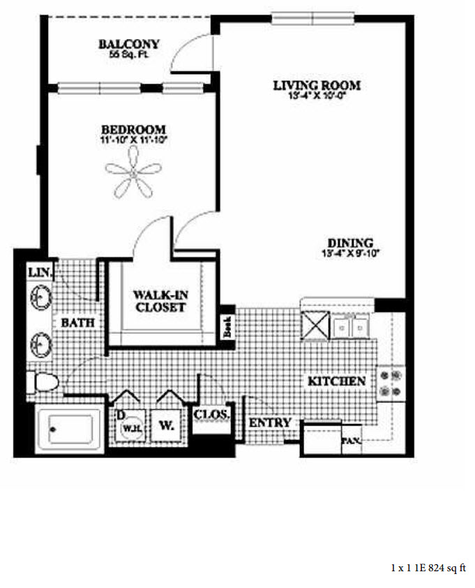 824 sq. ft. 1E floor plan