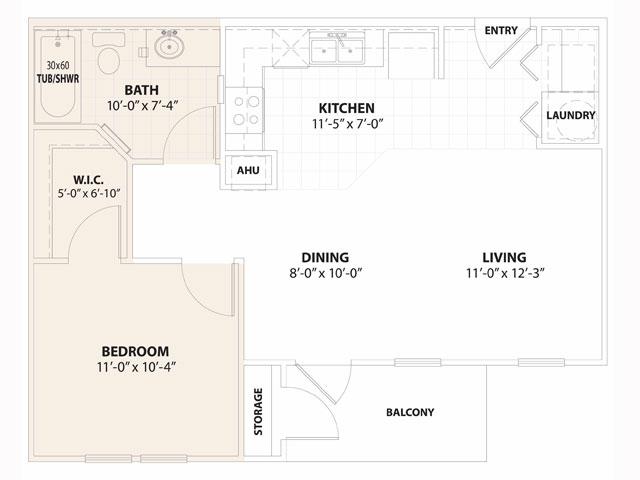 640 sq. ft. MiraSol 50% floor plan