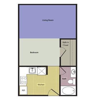 494 sq. ft. to 554 sq. ft. Venezia floor plan