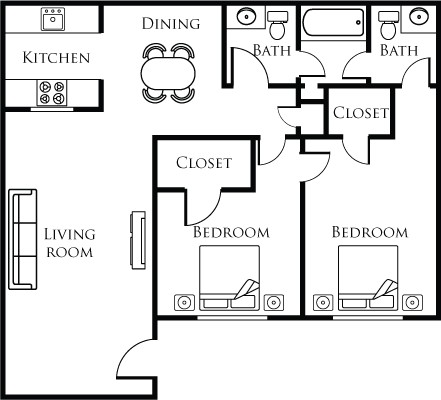 886 sq. ft. E floor plan